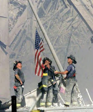 WTC Firefighters Flag Raising